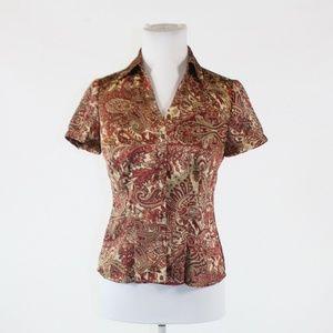 Beige red ANN TAYLOR LOFT blouse 2P